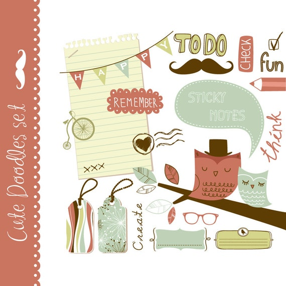 20 cute clip art elements for digital scrapbooking, mustache, owls, bunting, frames, bike and paper for notes