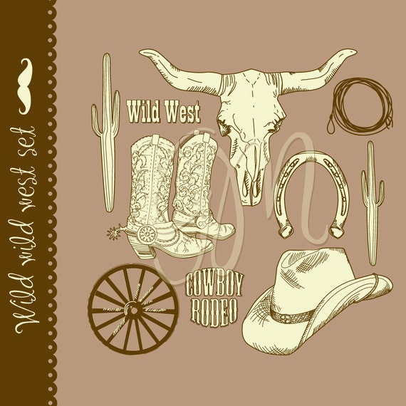 Cowboy clipart and digital scrapbooking paper pack Wild West -father's day, boys, birthday, party, cowboy, western, farwest, colt, sheriff,