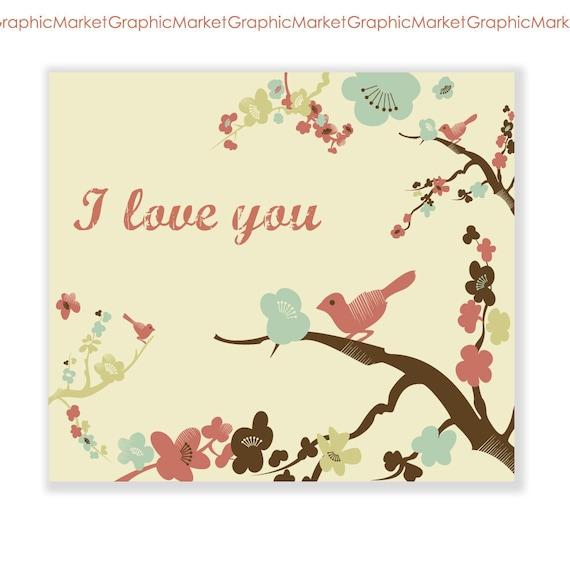 "Hand Drawn ""I love you"" card, lovely birds. Digital Card"