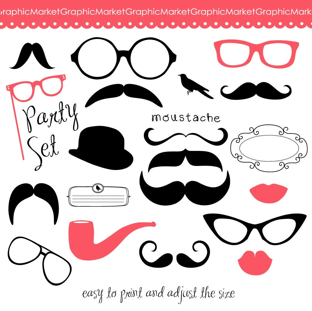 Mustache Spectacles and Lips Kiss Digital Clipart Set. DIY