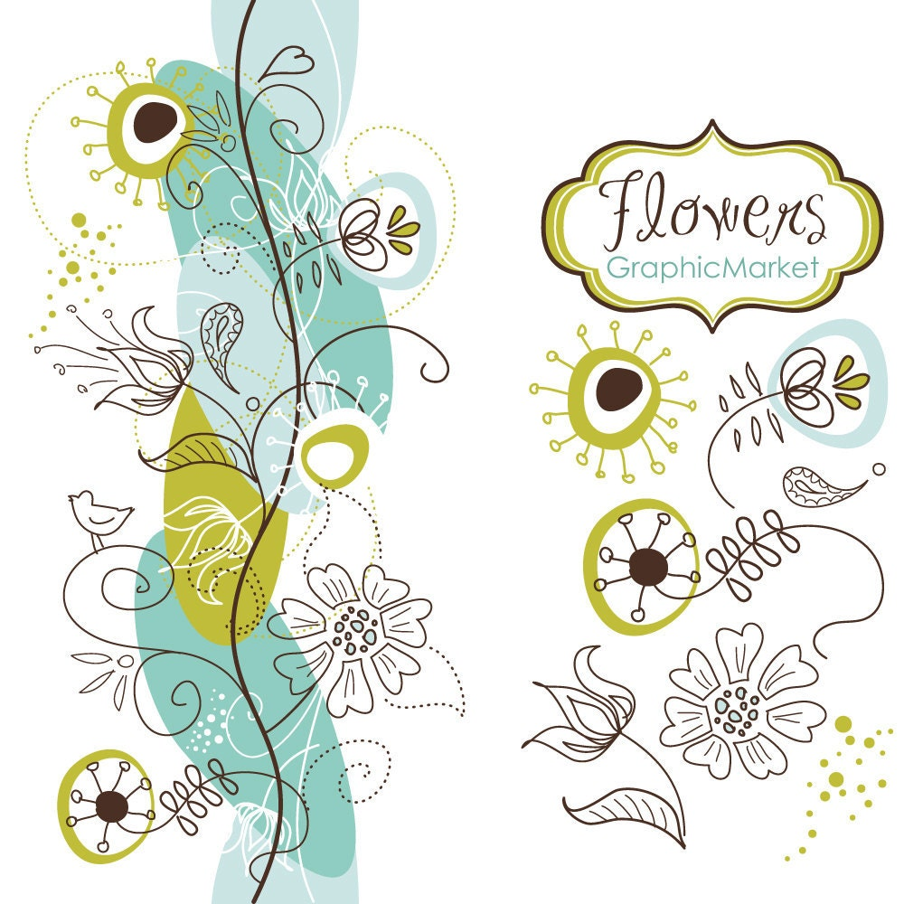 Clipart Flowers Wedding Invitation Clipart Flowers: 14 Flower Designs And A Floral Border Clipart For