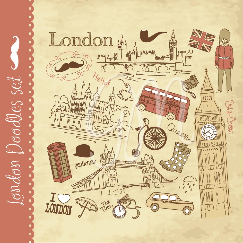 London clip art and digital paper set and vintage digital