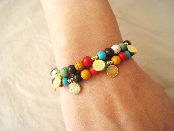 Mediterranean-colorfull casual bracelet-beaded work-triditional turkish style-FREE Shipping