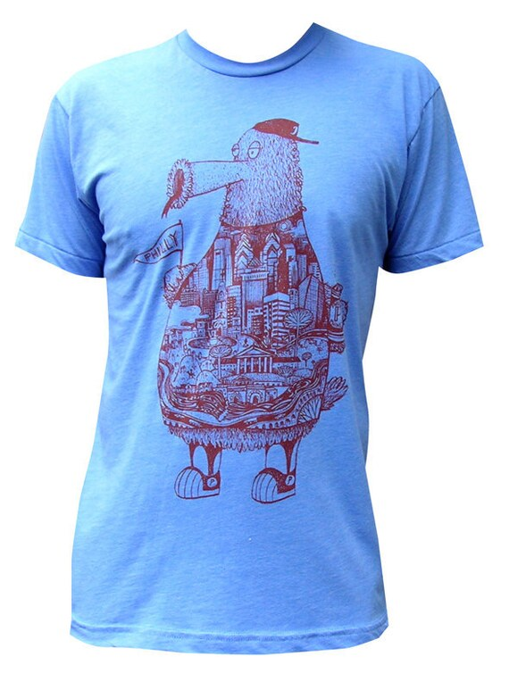 Philly Phanatic, Philadelphia Artist Print Graphic Tee Shirt: American Apparel 50/50 Blend  S - XXL / Mens and Womens Grey, Maroon, Blue