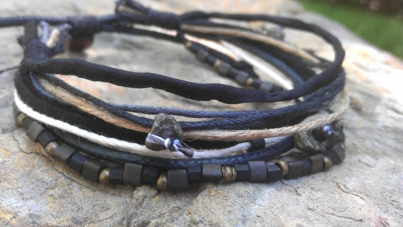 Men's Bracelet - Metal, Glass, Stone, Fiber - Masculine Jewelry For Him - All Natural