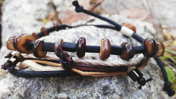 Man Bracelet - Men's Bracelet - Boho Natural Wrap Bracelet Style For Him