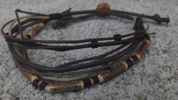 Men's Bracelet - Wood, Metal, Glass, and Fiber - Man Bracelet