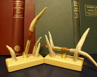Deer Antler Quill Pen and Pen stand set