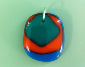 Brightly Colored Fused Glass Pendant