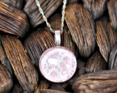 Retro Pink Floral on a White Background Pendant