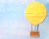 Cheery Hot Air Balloon Art in Frame