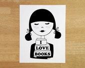 Book lover art print 8x10