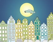 Wallpaper mural The car that flew over the city at full moon