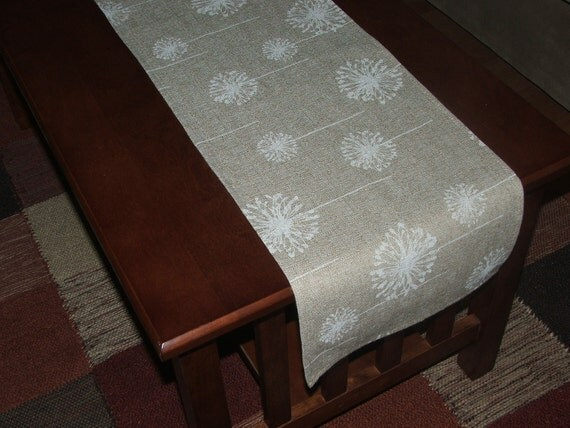 Linen table runner 12x56 in natural color with white dandelion