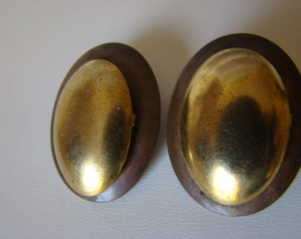 Goldtone and Brass Vintage Pierced Earrings, 70s style, Gorgeous