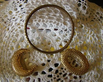 Vintage Goldtone Lot of Jewelry, Bangle, Crescent Pin, Oval Pin, Unique Perforated Metal
