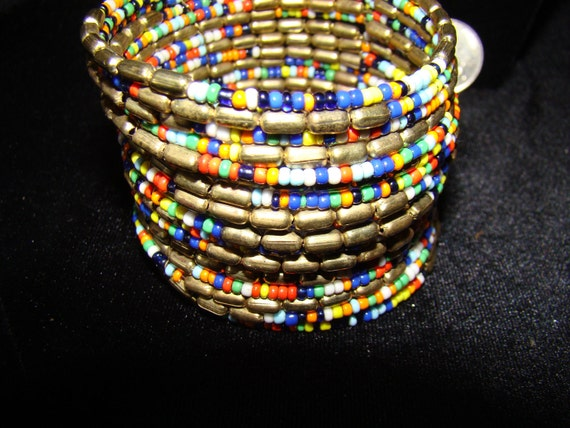 RESERVED for Sherri     Multicolored Beads and Goldtone Beads, 2 inches wide, Stretches to fit wrist, Statement Piece