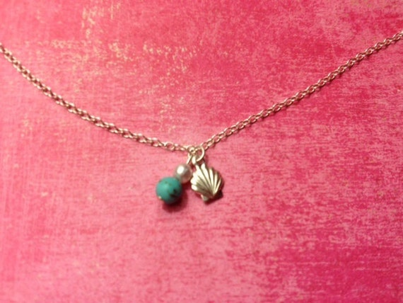 Silver Seashell Necklace - Delicate Summer Beach Jewelry - Modern - Tiny- Turquoise Charm - Customizable