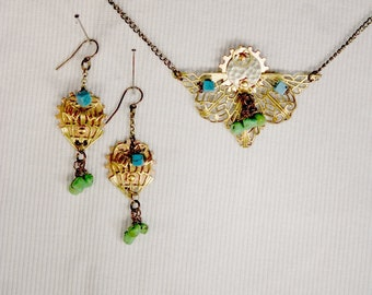 Art Deco Turquoise Crown Necklace and Earrings