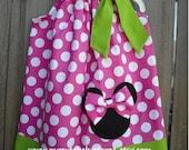 Fuchsia/White Polka Dot and Lime Green Minnie Mouse Pillowcase Dress