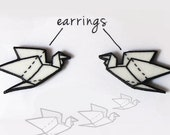 Crane stud earrings origami japan bird painted in black and white
