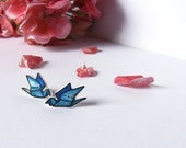 Crane stud earrings origami japan painted in shades of Blue