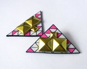 Studded geometric earrings modern triangle in neon pink white and black