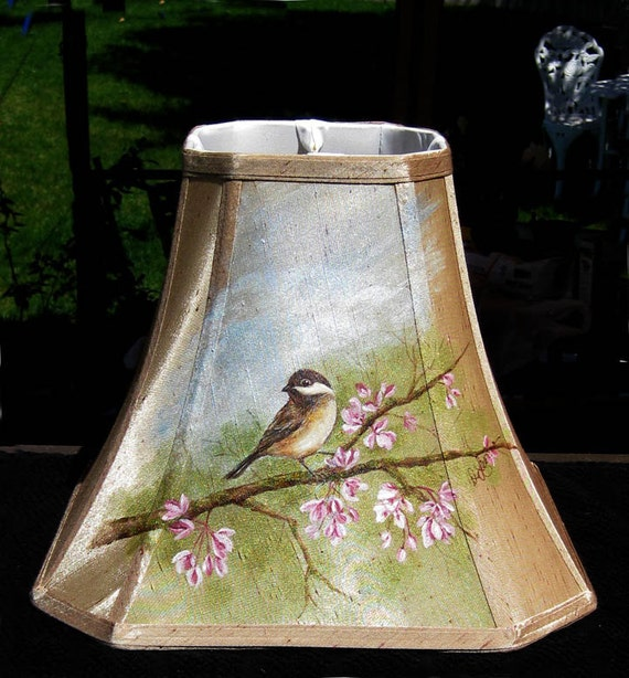 Hand Painted Lamp Shades: Cottage Chic Hand Painted Bird Lampshade Fabric Songbird