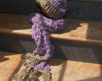 Purple and brown hat and scarf