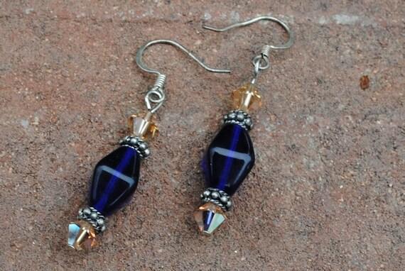 Blue and topaz earrings
