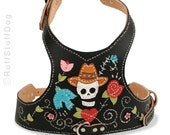 Custom Leather Dog Harness-Day of the Dead-Black-Size Large thru Extra Large