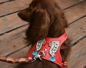 Custom Leather Dog Harness-Indian Chiefs-Size Tiny thru Med.