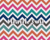 Custom Chevron Thank You Note Card, Choose 1 to 2 colors, Set of 10 Folded Cards, Gift, Thank You Cards/Printable Available