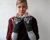 Dark Grey Owl Gloves Fingerless Gloves Mittens Owl Hand Knit,
