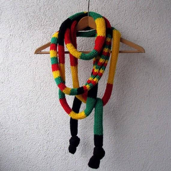 Rasta Scarf - Bob Marley - Reggae - Knit Scarf Necklace - Long Scarf Handknitted -Knit Scarf Necklace