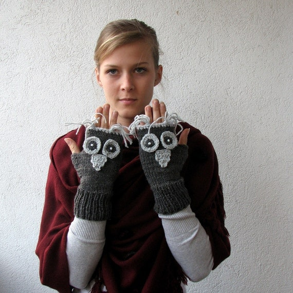 Dark Grey Owl Gloves Fingerless Gloves Mittens Owl Hand Knit,