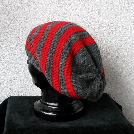 Hand Knitted Grey and Red Slouchy Hat Beanie Gray Knitted Slouchy Beanie Unisex Men Women