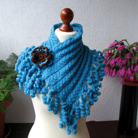scarf cowl handknitted knitting turquoise scarf