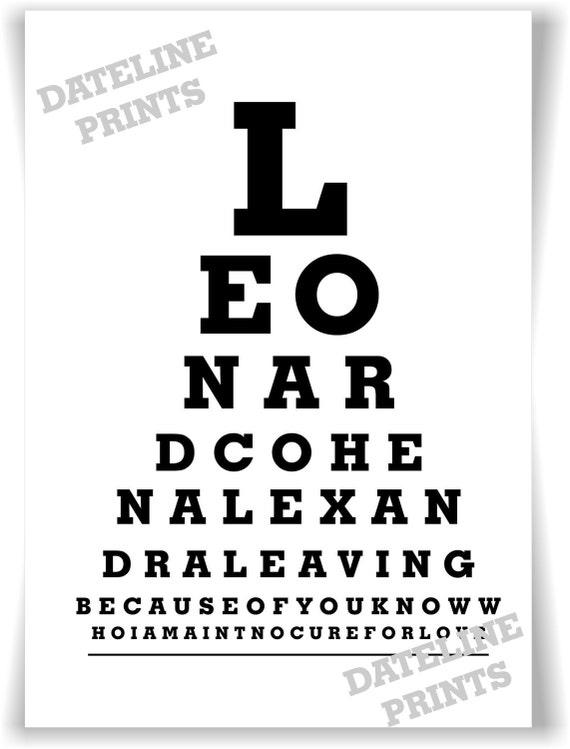 Leonard Cohen Eye Test Chart A4 Typography Digital Ink  Print