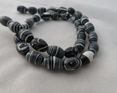 BEADS -  Glass Black and White Stripe Beads