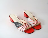 Patriotic Red White and Blue - Stars and Stripes Sandals Size 8 Women's