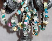Mixed stone and shell chunk multi-color 5 loop memory wire bracelet/anklet/choker