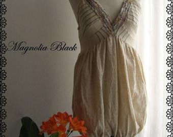 Boho Dress - Patchwork - Bohemian - Beige dress Oaak fashion  - Dress with thinly golden stripes - Magnolia Black -