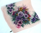 Vintage silk chiffon scarf - floral silk scarf - Macclesfield silk scarf - 1940s silk scarf