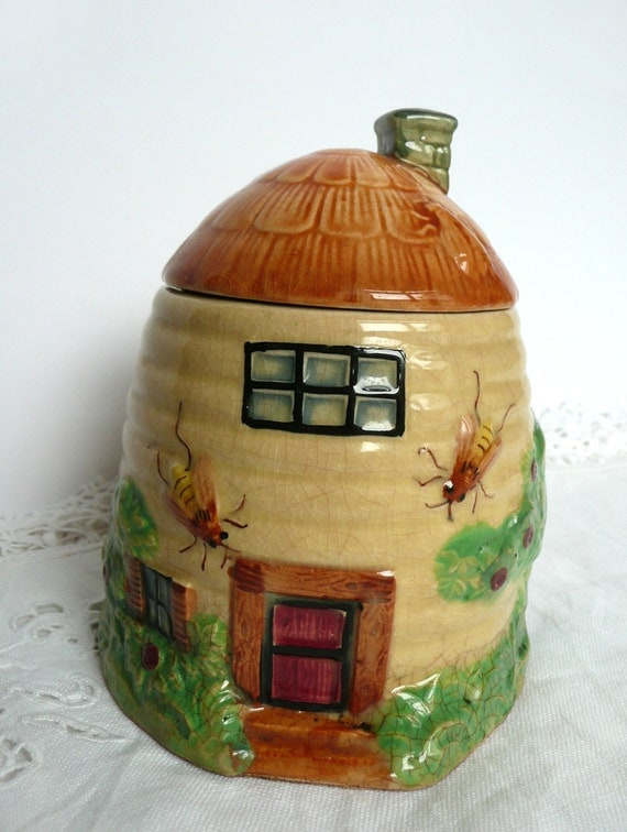 Japanese Honey Pot Vintage 1930s Honey Pot Glazed Cream