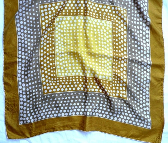 Vintage silk scarf, printed gold, yellow, white and pale brown spotted silk scarf with hand rolled edges