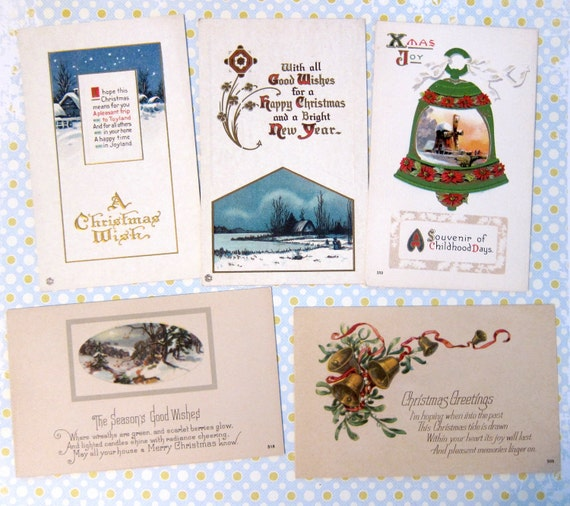 Lot of 5-- Vintage/Antique Christmas Greetings Postcards