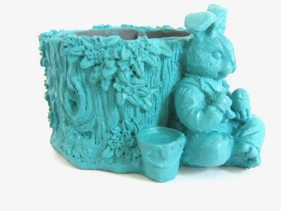 Blue Painted Bunny Tree Trunk Figurine Upcycled Home Decor