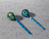 Blue and Yellow Dichroic Fused Glass Bobby Pins - Set of 2