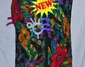 Nuno felt scarf black red purple turquoise repurposed fabric